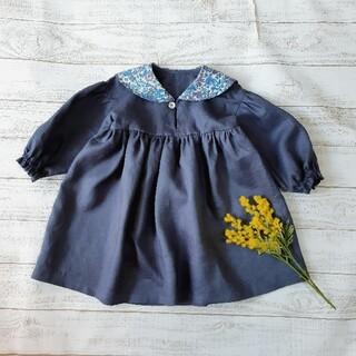 Bonpoint - ハンドメイド商品[110]セーラーカラーのぽわん袖ワンピース エミリー