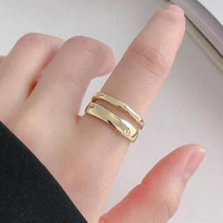 SHIPS - R06 ゴールド シンプルダブルリング 指輪 silver925 フリーサイズ