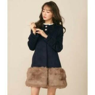 ミーア(MIIA)のMIIA ミーア ビジュー付きファードッキング コート 新品Lネイビー(毛皮/ファーコート)