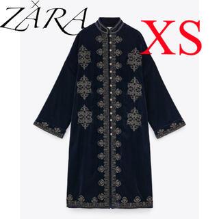 ZARA - 新品 ザラ 刺繍 ベルベット ロングガウン