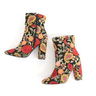 総刺繍 花柄 ブーツ vintage