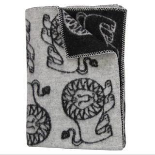 クリッパン(KLIPPAN)のクリッパン リサラーソン ブランケット  レオ柄 ラムウール100%(毛布)
