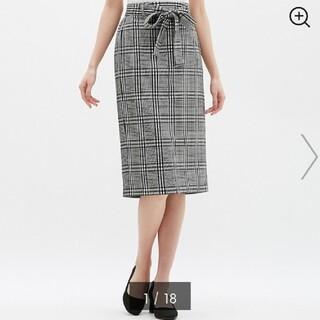 ジーユー(GU)の【GU ジーユー】ウエストリボンチェックナローミディスカート ブラック Sサイズ(ロングスカート)