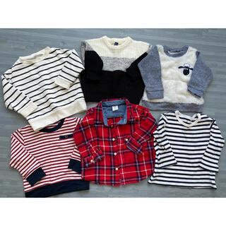 ギャップキッズ(GAP Kids)の子供服 トップス シャツ チェック モコモコ セーター トレーナー ニット(トレーナー)