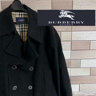BURBERRY - 冬物大セール‼︎ Burberry London 黒 Pコート メンズ 定番色