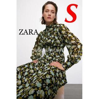 ZARA - 新品 ZARA S 花柄 フラワー柄 ミディ ワンピース