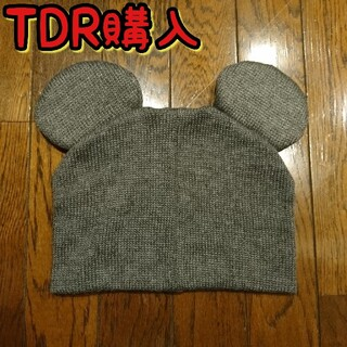 Disney - 美品 TDR購入 ミッキー型ニット帽子 ビーニー グレー