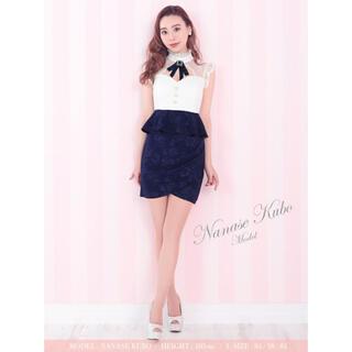 dazzy store - 2カラー有*ビジューブローチ/パールボタン/花柄スカートドレス