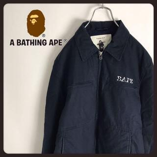 A BATHING APE - アベーシングエイプ☆BAPEロゴ 厚手 裏起毛 ブルゾン