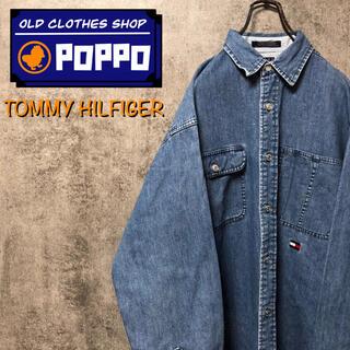 TOMMY HILFIGER - トミーヒルフィガー☆フラッグ刺繍ロゴ・ロゴタグメタルボタンデニムシャツ 90s