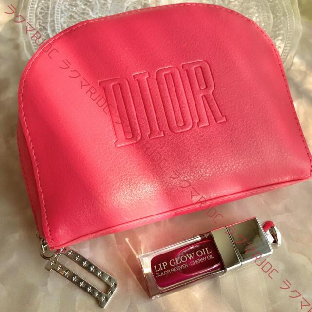 Christian Dior(クリスチャンディオール)の【新品未使用】ディオール レザー調 ホットピンク ラウンドファスナー ポーチ レディースのファッション小物(ポーチ)の商品写真