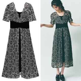 Lily Brown - リリーブラウン 新品 ウエストクロスラメレースドレス ブラック
