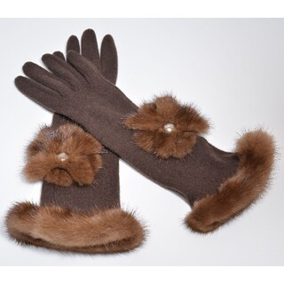 ルイヴィトン(LOUIS VUITTON)の極美品ルイヴィトン手袋 肌触り抜群 カシミヤ×ミンク×羊革 定12万 グローブ(手袋)
