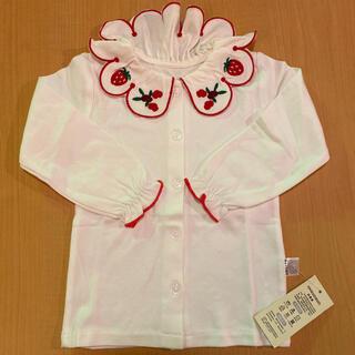 Shirley Temple - 12.) 新品白ブラウスイチゴ花柄とても可愛い