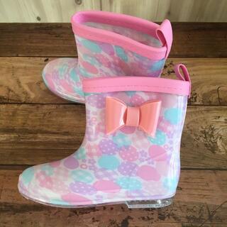 キッズ長靴 17㎝ 女の子 ドット柄 リボン レインシューズ 雨具