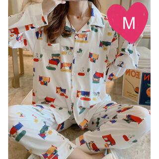 【白 M】大人気 レディース パジャマ 部屋着 ルームウエア 上下セット 大人気(パジャマ)
