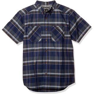 マーモット(MARMOT)のMarmot マーモット シーエルプラッドハーフスリーブシャツ紺 メンズM新品(シャツ)