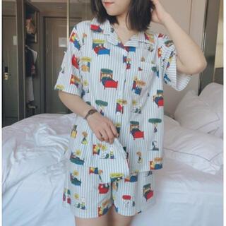 ★ストライプL♡新品♡ 即売れ パジャマ♪ レディース 半袖 短パン 部屋着(パジャマ)