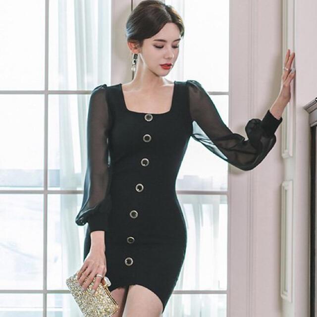 【本日限定セール】andyジャンル♡韓国ファッション 袖シフォンキャバドレス レディースのフォーマル/ドレス(ナイトドレス)の商品写真