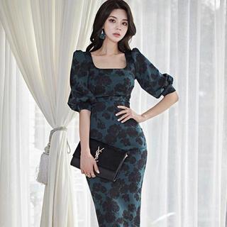 【本日限定セール】ROBEジャンル♡韓国 体型カバーレトロ花柄キャバドレス(ナイトドレス)