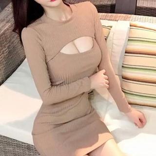 【本日限定セール】DURASジャンル韓国ファッション♡胸開きニットワンピース長袖(ナイトドレス)