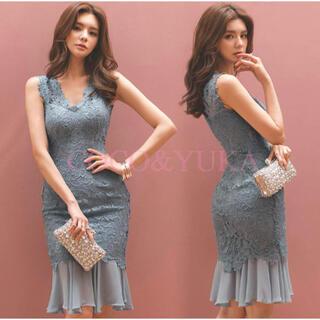 【本日限定セール】韓国ファッション♡総レースマーメイドキャバドレス 水色 L