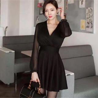 【本日限定セール】ZARA系韓国ファッション 袖シフォン切り替えキャバドレス(ナイトドレス)