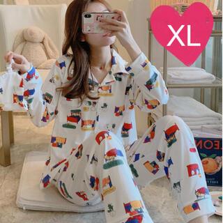 【白 XL】大人気 レディース パジャマ 部屋着 ルームウエア 上下 セット(パジャマ)