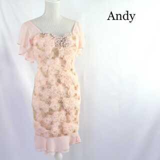 アンディ(Andy)のアンディ★ビジュー キャバドレス 膝上 高級 ピンク M ミニ(ナイトドレス)