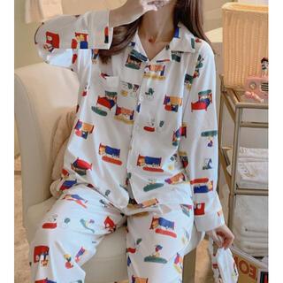 【白L】大人気 レディース パジャマ 部屋着 ルームウエア 上下セット 大人気(パジャマ)