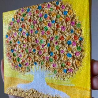 ゴールド&ハッピーカラー 幸福の木 幸運 金運 金色の木 ヒーリングアート(絵画/タペストリー)