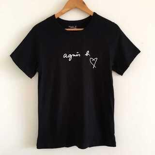 アニエスベー Agnes b Tシャツ レディース ブラック ホワイト(Tシャツ(長袖/七分))