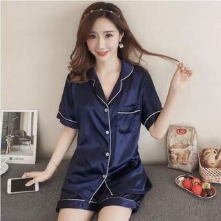 【XL/ブルー】パジャマ セットアップ 半袖 シルクタッチ ルームウェア(ルームウェア)