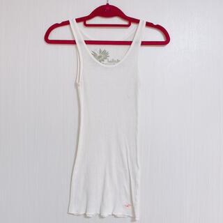 Hollister - ホリスター タンクトップ 薄手生地 刺繍ロゴ入り ホワイト ヨガ ジムにも◎