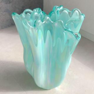 アンティーク花瓶 ティファニーブルーオーロラフリルフラワーベース