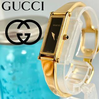 Gucci - 254 グッチ時計 新品電池 1500 ゴールド ハングルタイプ スクエア