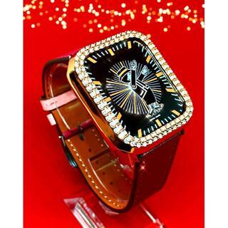 アップルウォッチ 最高ランクダイヤカバーローズ 本革レザーベルト 38/40mm(腕時計)