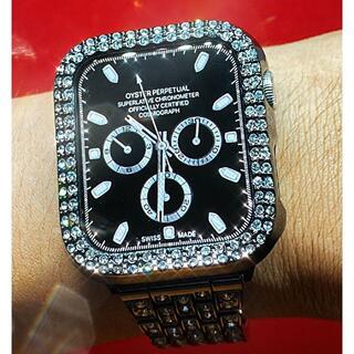 アップルウォッチ 最高ランクダイヤカバー&バンドセット コマ調整器付 サイズ各種(腕時計)
