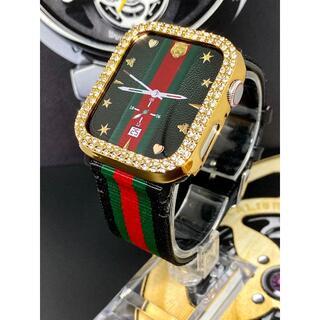 アップルウォッチ 最高ランクダイヤカバー ナイロンレザー  ベルトセット(腕時計)