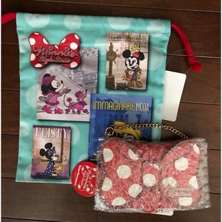 ディズニー(Disney)の新品タグ付TDRミニーのスタイルスタジオパスケース♡巾着(キャラクターグッズ)