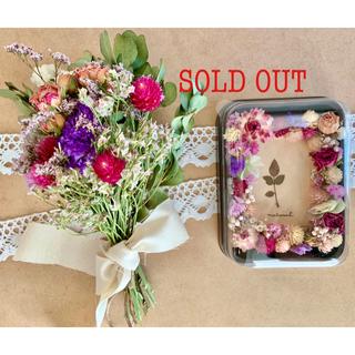 ドライフラワー スワッグとフォトフレームの2点セット❁¨̮薔薇ローズ写真立て花束(ドライフラワー)