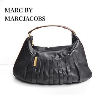 マークバイマークジェイコブス(MARC BY MARC JACOBS)の美品 正規品 マークジェイコブス ブラックレザー ゴールド ミニボストンバッグ(ボストンバッグ)