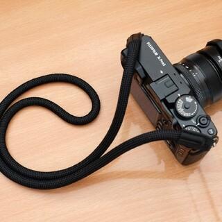 ロープ カメラストラップ 黒 一眼レフ ミラーレス レザー おしゃれ(その他)