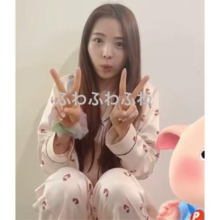 ジーユー(GU)のGU いちご イチゴ 苺 サテン パジャマ ピンク 新品(パジャマ)