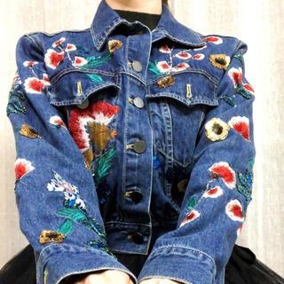 Alice+Olivia - 【送料無料】正規品 Alice+Olibia 花柄 鳥 装飾品 デニムジャケット