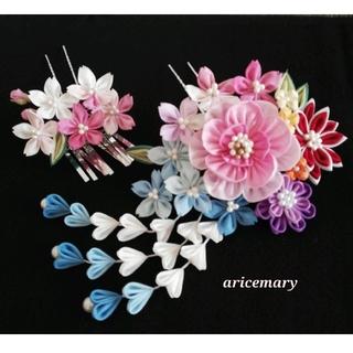 正絹 牡丹と桜のつまみ細工髪飾り(ヘアアクセサリー)