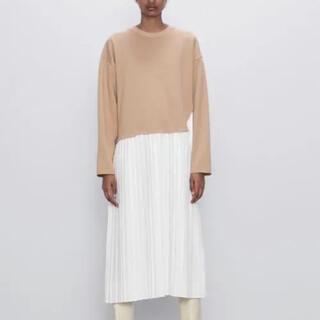 ZARA - ZARAワンピース combined pleated dress
