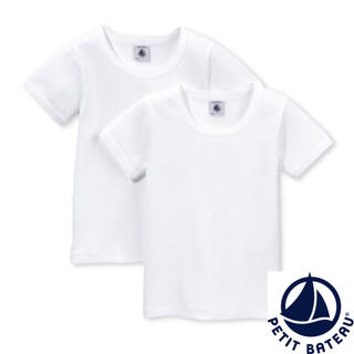 プチバトー(PETIT BATEAU)の【新品】プチバトー M ポワンココット半袖Tシャツ2枚組(アンダーシャツ/防寒インナー)