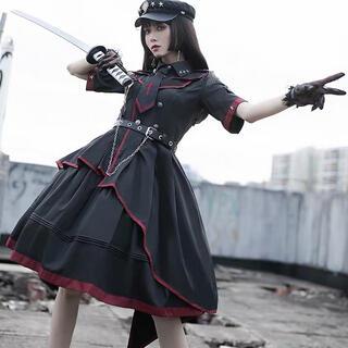 ロリータ 軍ロリ 半袖 ミニロリ 最高品質帽子付き豪華セット(衣装一式)