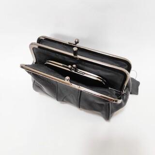 新品☆レザー ダブルがま口サイフ 黒(財布)